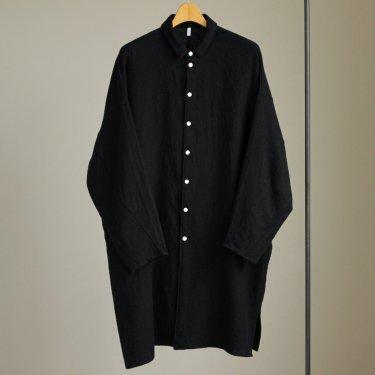 FBGSH|梳毛トップウール縮絨ガーゼツイルビッグシャツワンピース #BLACK [A7-F181SF]