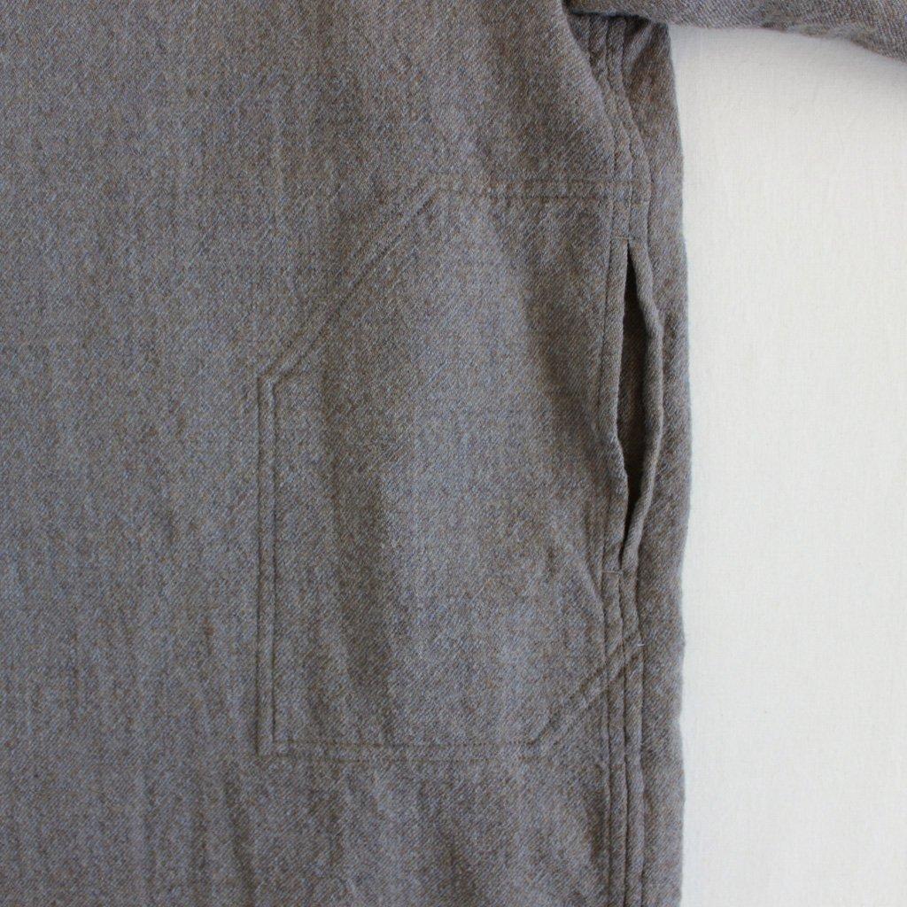 FBGSH|梳毛トップウール縮絨ガーゼツイルビッグシャツワンピース #GREY×CAMEL TOP [A7-F181SF]