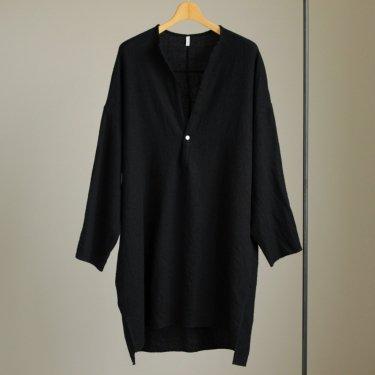 FBGPO|梳毛トップウール縮絨ガーゼツイルP/Oビッグシャツワンピース #BLACK