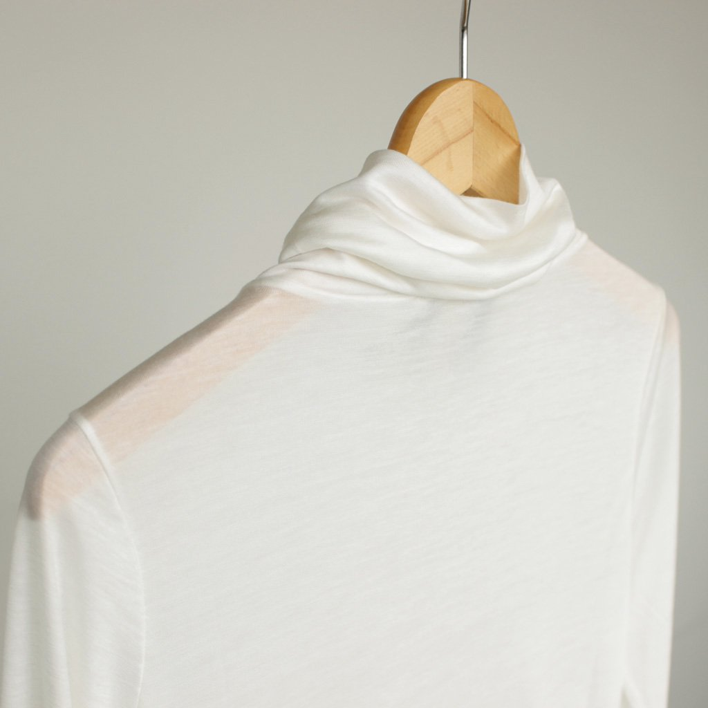 ATON | エイトン HIGH NECK LONG SLEEVE #WHITE/TENCEL CASHMERE GAUZE [KKAGHA0808]