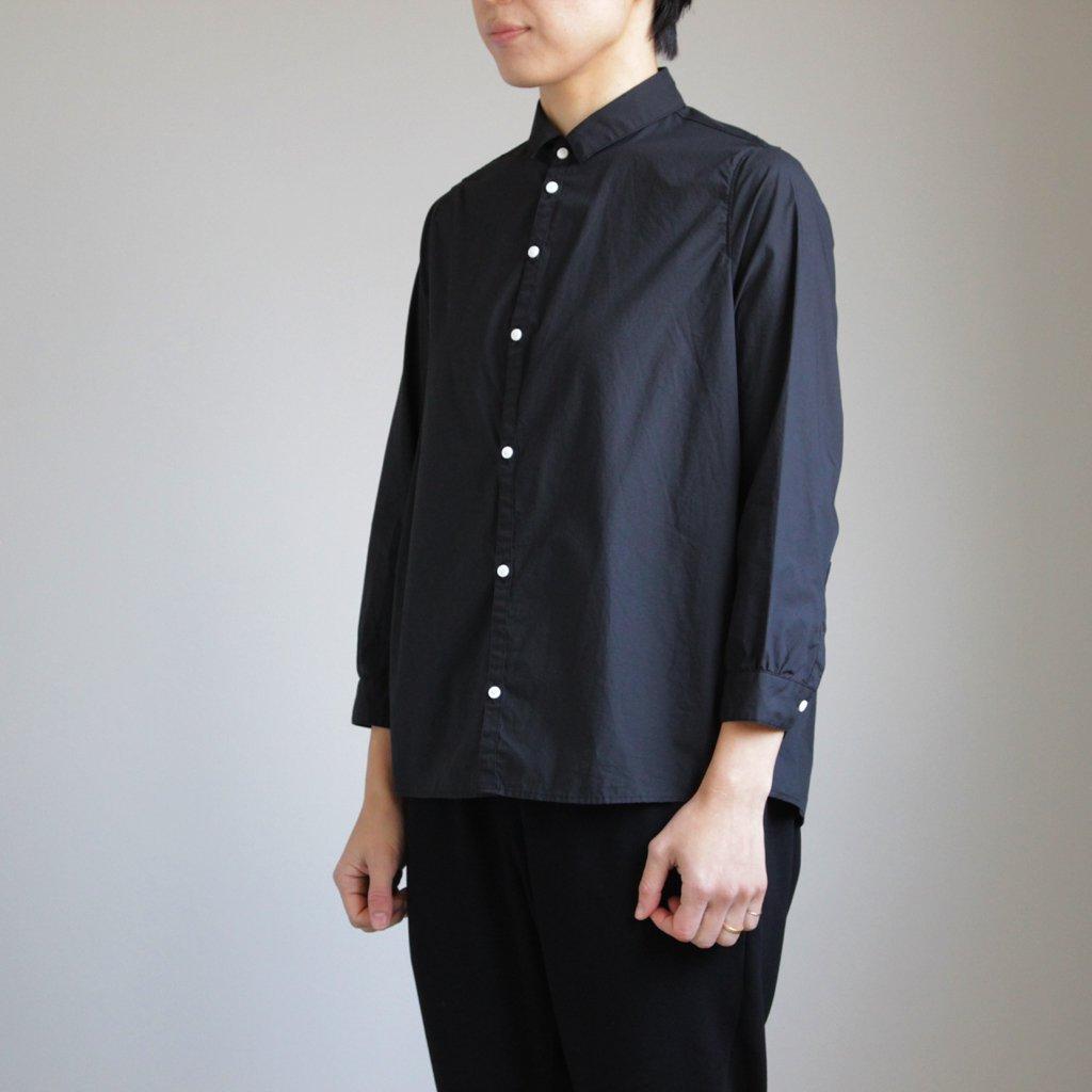 NCCSH|60/-コンパクトコットンライトタイプライター スモールカラーシャツ #BLACK [S8-NC011SF]