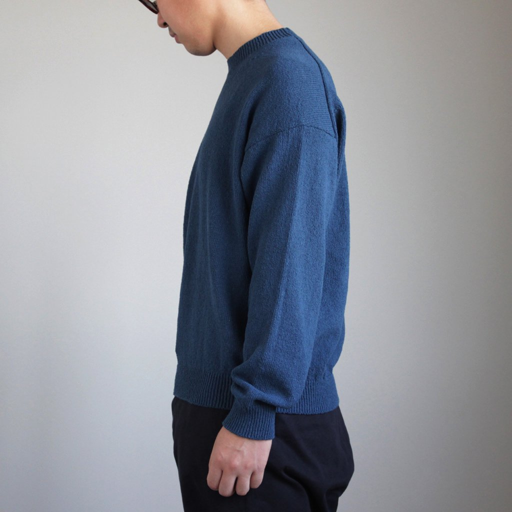 CORKSCREW YARN KNIT P/O #BLUE [A8SP02KK]