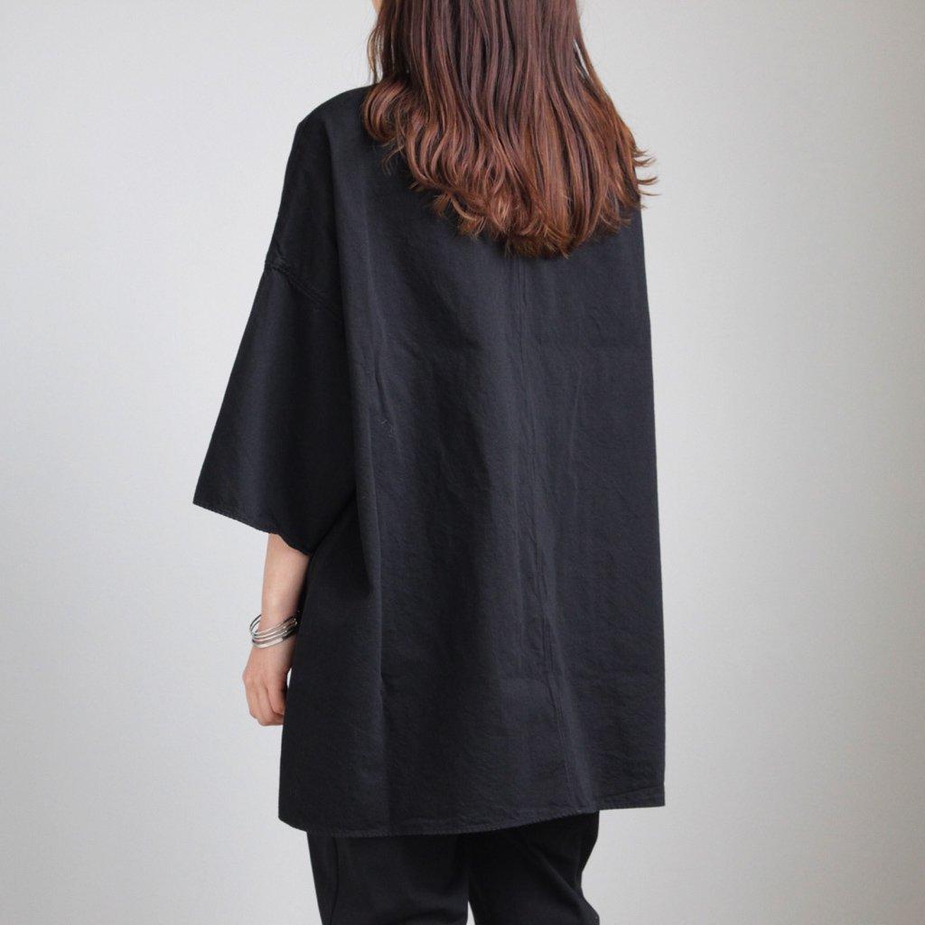 FIRMUM | フィルマム FCSPO|30/- ラフコットンツイル BIGシルエットプルオーバーシャツ #BLACK DYED [S8-FR013PO]