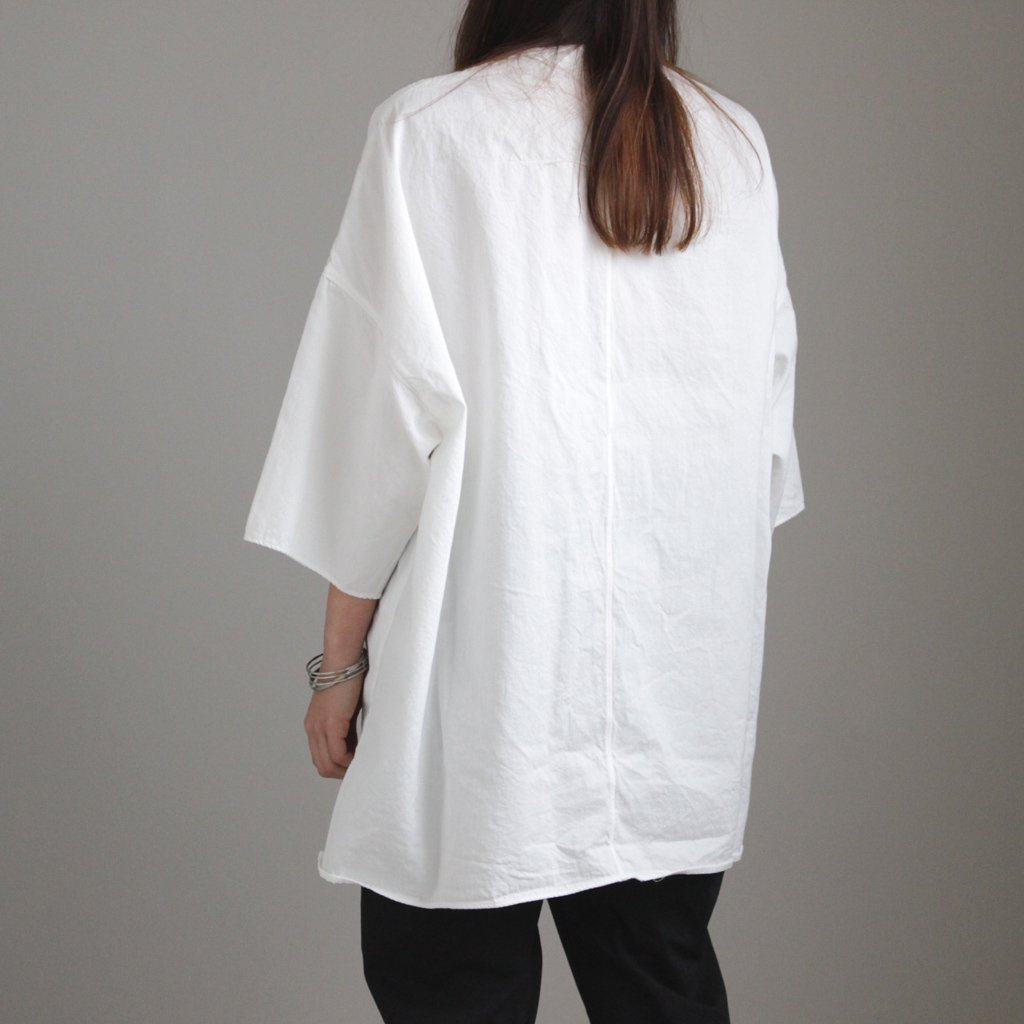 FIRMUM | フィルマム FCSPO|30/- ラフコットンツイル BIGシルエットプルオーバーシャツ #WHITE BLEACHED [S8-FR013PO]