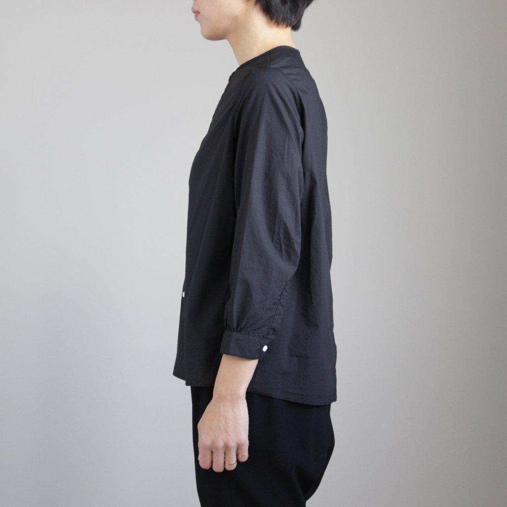 NNCSH|60/-コンパクトコットンライトタイプライター ノーカラーシャツ #BLACK [S8-NC012SF]