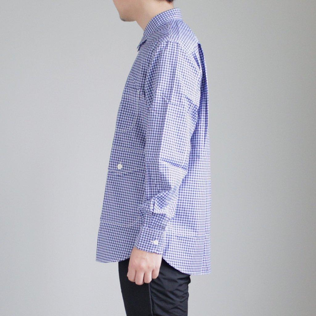 綿ツイルギンガムチェックBIGポケットシャツ #NAVY/SAX/WHITE [HA-B006-051]