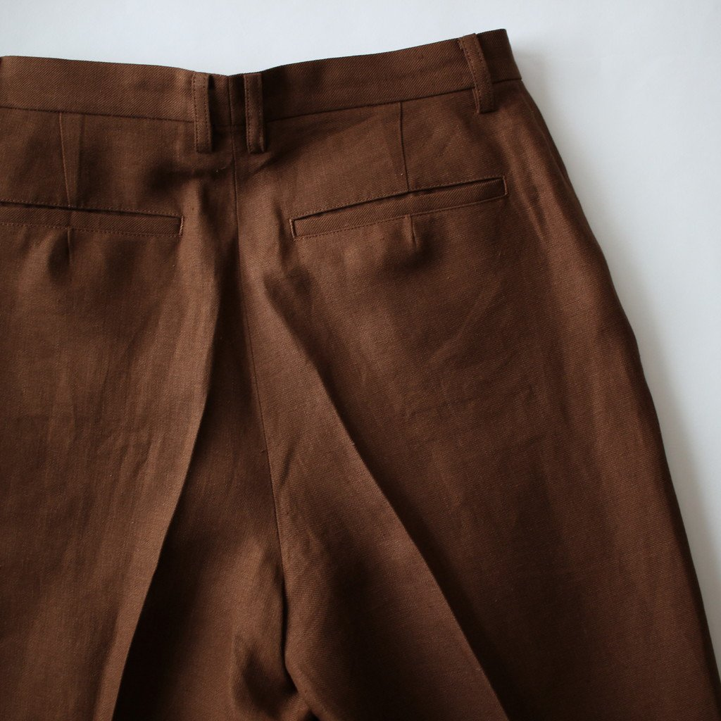 LINEN GABARDINE SLACKS #BROWN [A8SP03LG]