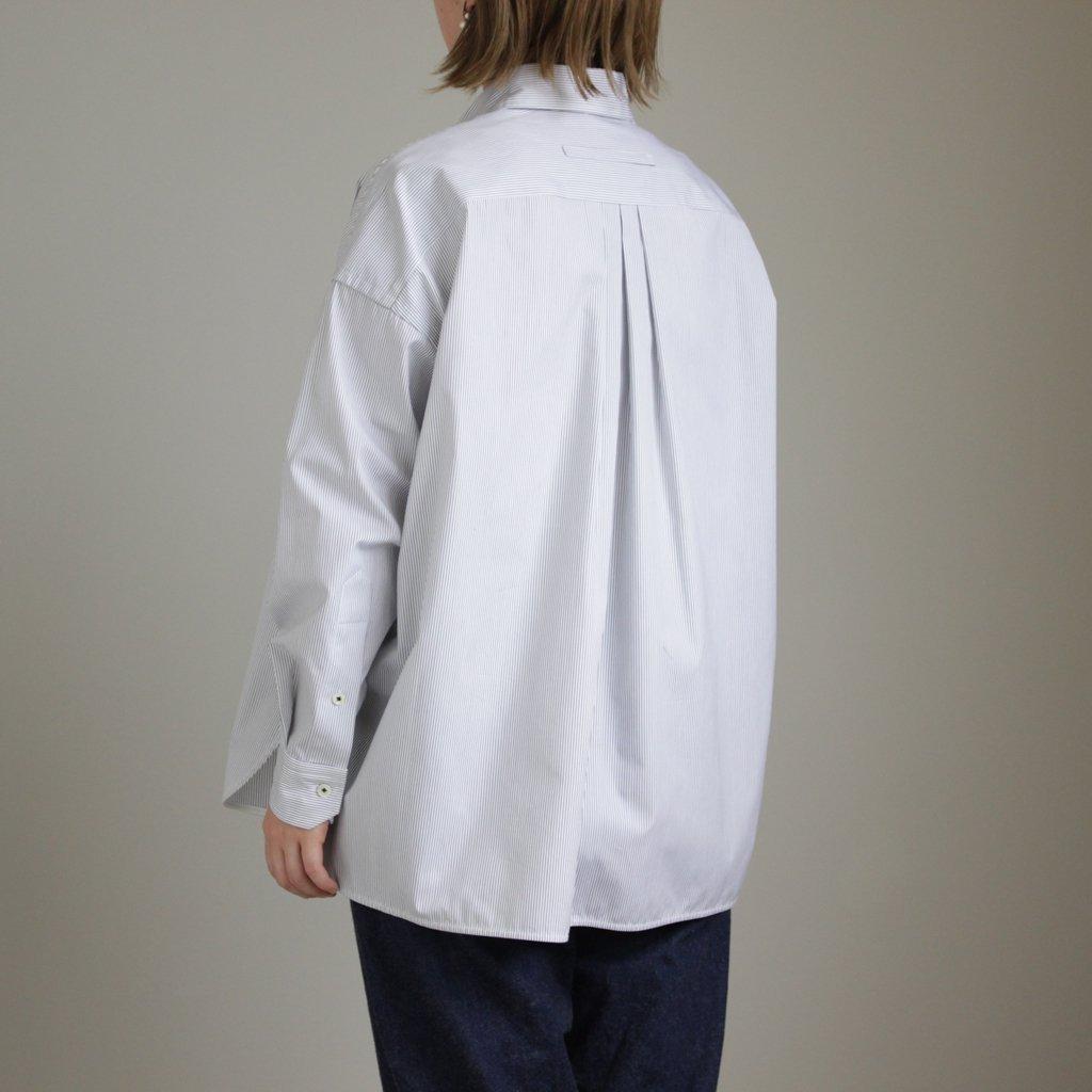 スクエアビッグシャツ #PENCIL STRIPE [TAHS-301-01]