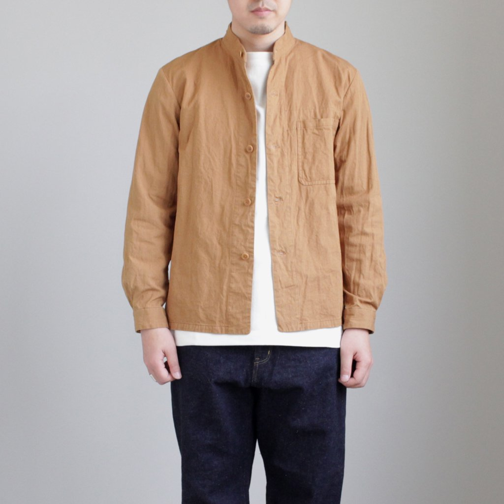 STAND COLLAR JACKET #BROWN [48303]