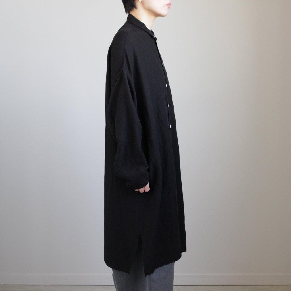 FBGSH リネン&レーヨンブロードクロスワイドシャツワンピース #BLACK [S8-FR142SF]