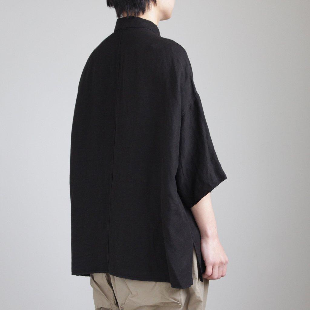 FO5SH|リネン&レーヨンブロードクロススモールカラーワイドシャツ #BLACK [S8-FR144S5]