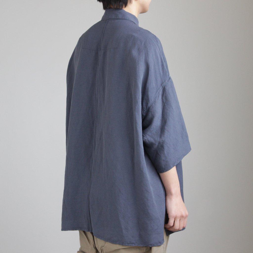FO5SH|リネン&レーヨンブロードクロススモールカラーワイドシャツ #SHADOW BLUE [S8-FR144S5]