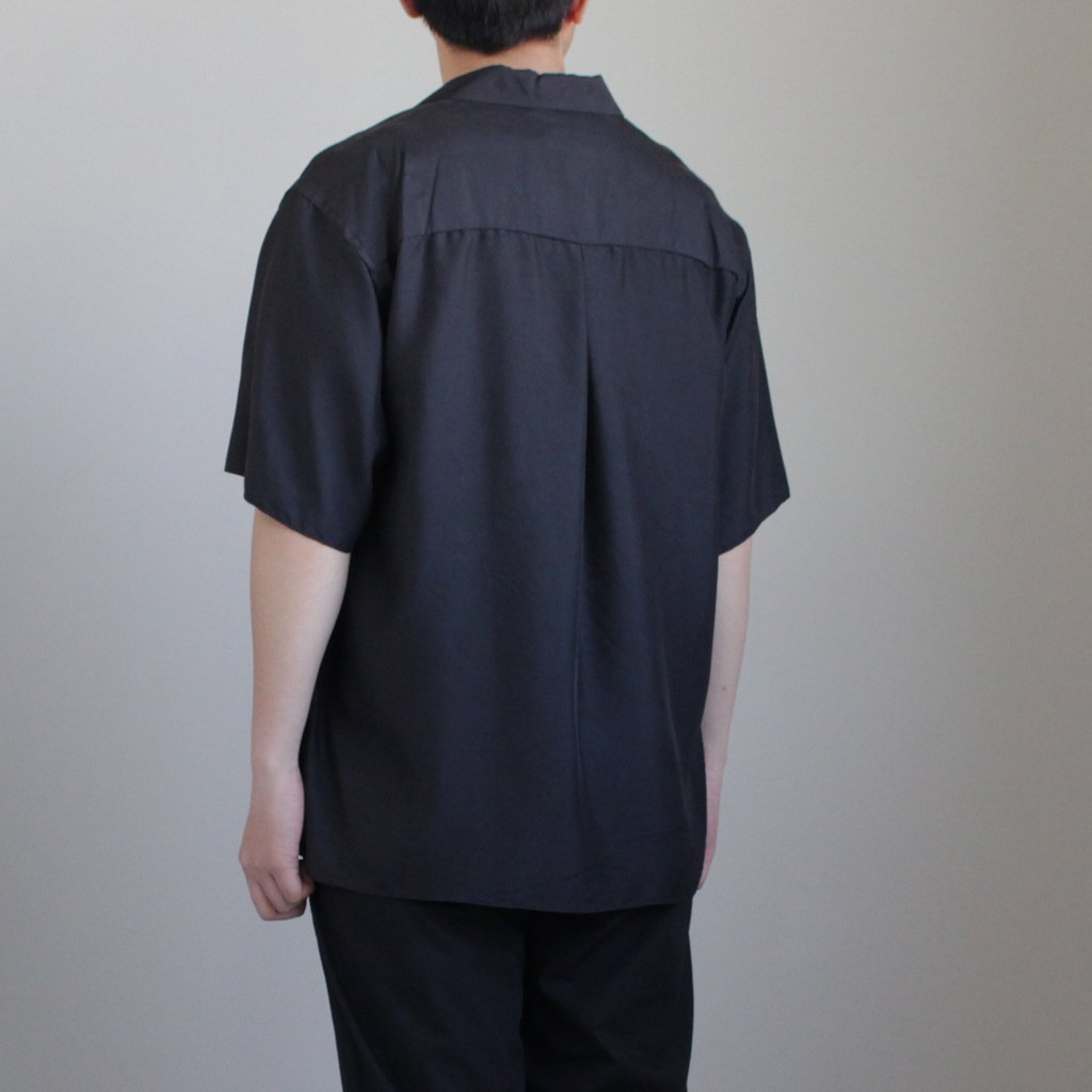 Graphpaper | グラフペーパー CUPRA OPEN NECKED SHIRT #BLACK [GM181-50039]