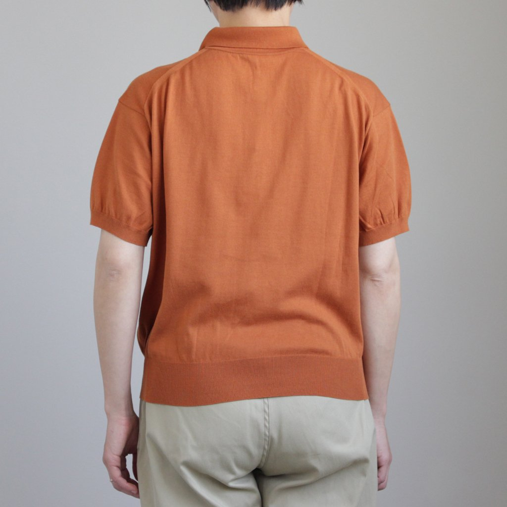 AURALEE | オーラリー SUPERFINE HIGH GAUGE KNIT BIG POLO #CAMEL BROWN [A8SP04SG]