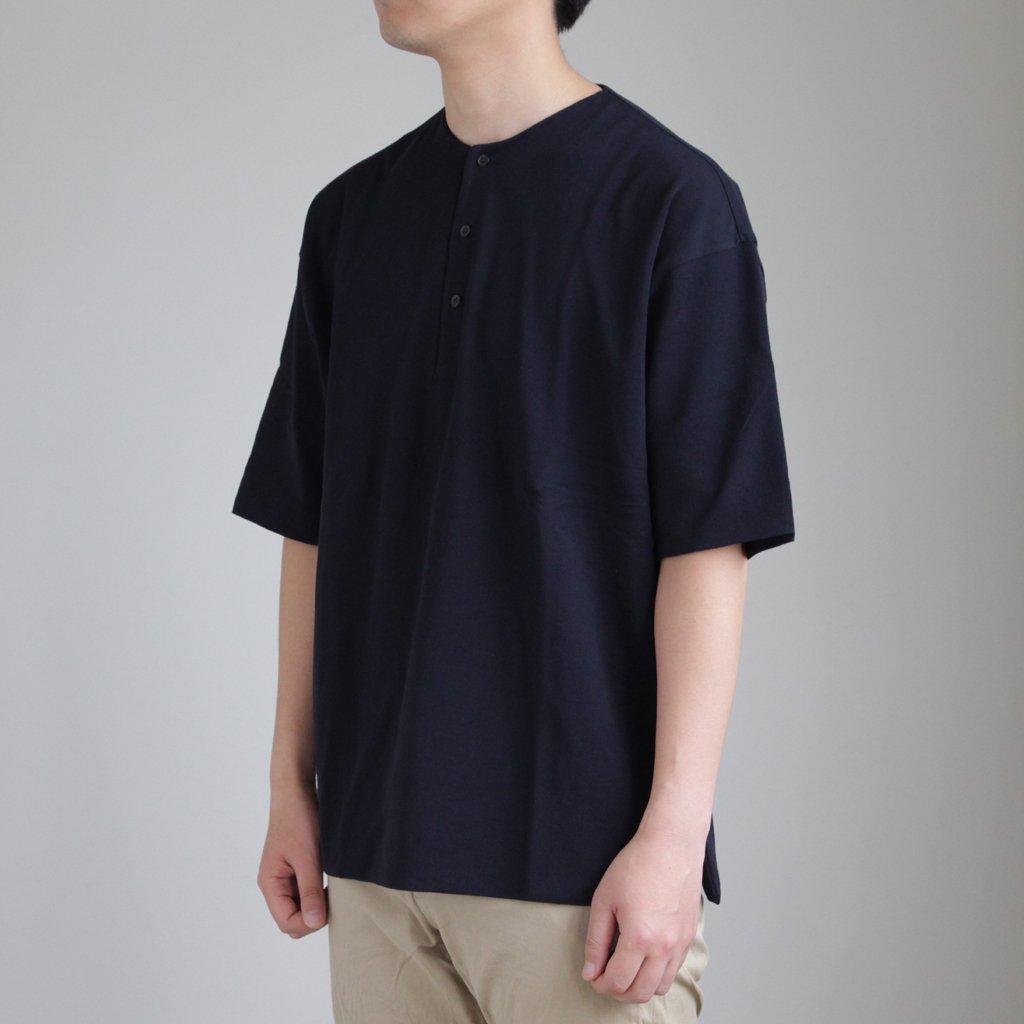 HIGH GAUGE PIQUE DOUBLE CLOTH HENLEY NECK #NAVY [A8SH02HK]