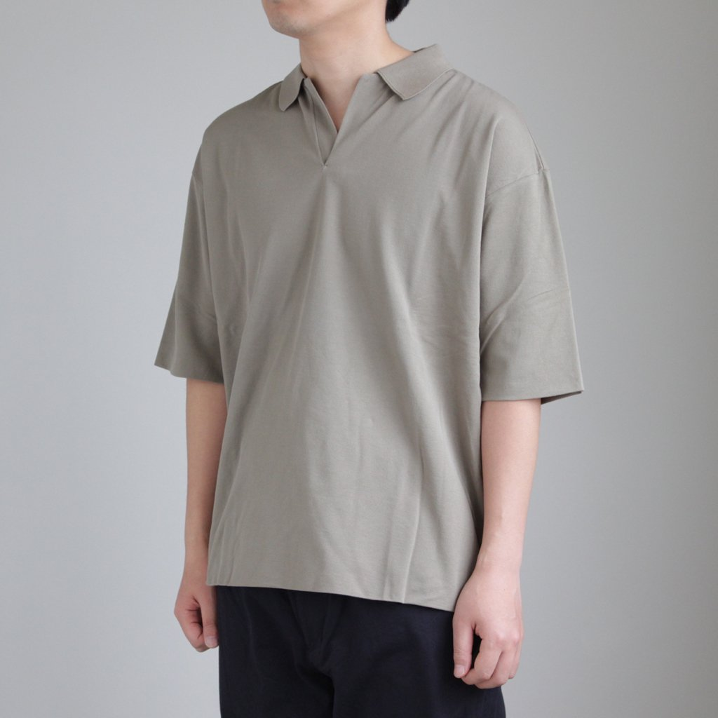 HIGH GAUGE PIQUE DOUBLE CLOTH SKIPPER POLO #KHAKI [A8SP01HK]