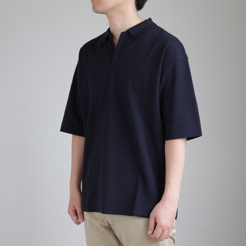 HIGH GAUGE PIQUE DOUBLE CLOTH SKIPPER POLO #NAVY [A8SP01HK]