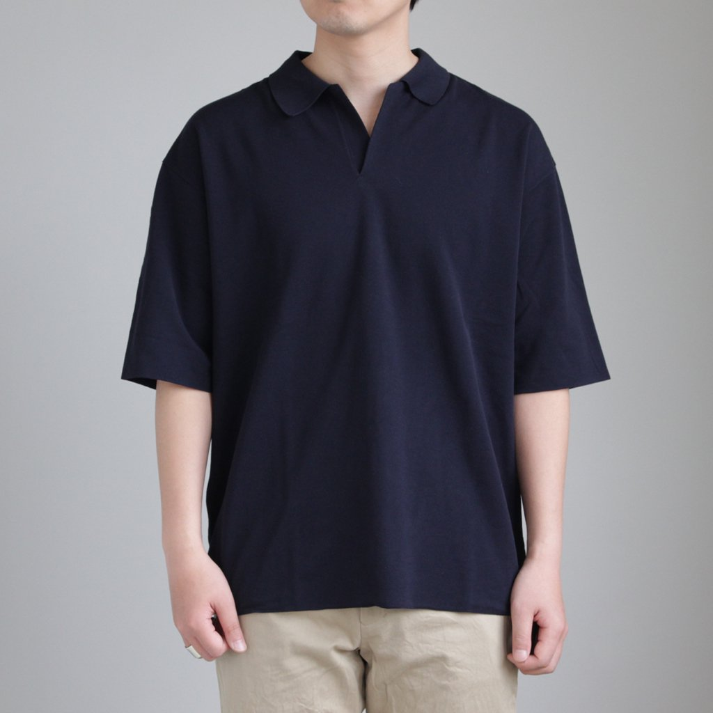 HIGH GAUGE PIQUE DOUBLE CLOTH SKIPPER POLO #NAVY [A8SP01HK]