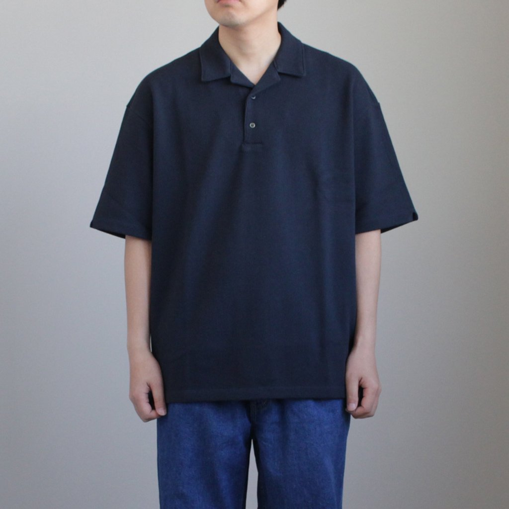 Graphpaper | グラフペーパー BIG PIQUE OPEN NECKED POLO SHIRT #NAVY [GM181-70058]