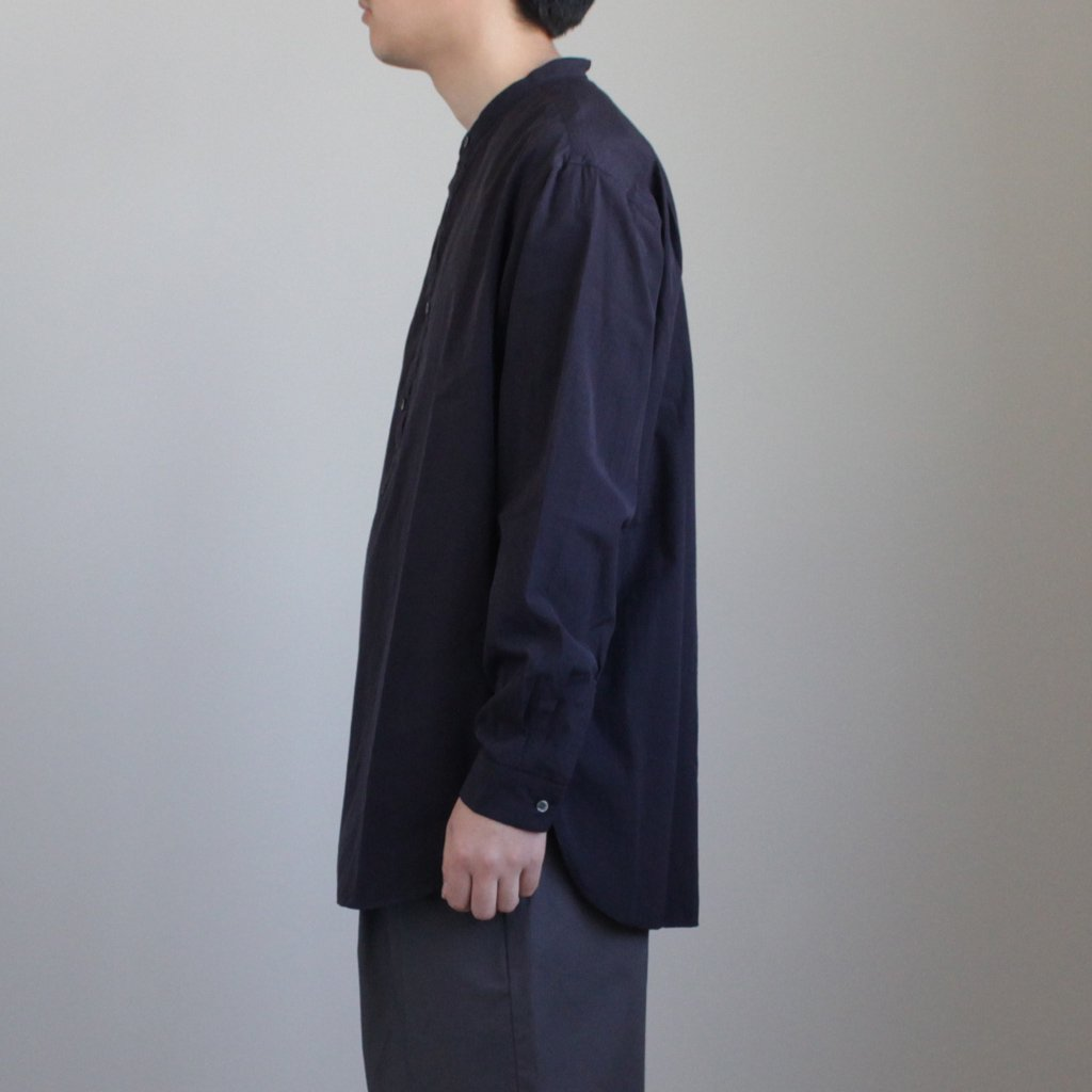 BAND COLLAR SHIRT #NAVY [GM181-50050B]