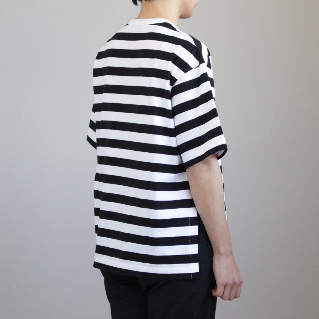 S/S BORDER SLIT TEE #WHITE/BLACK [GL181-70074B]