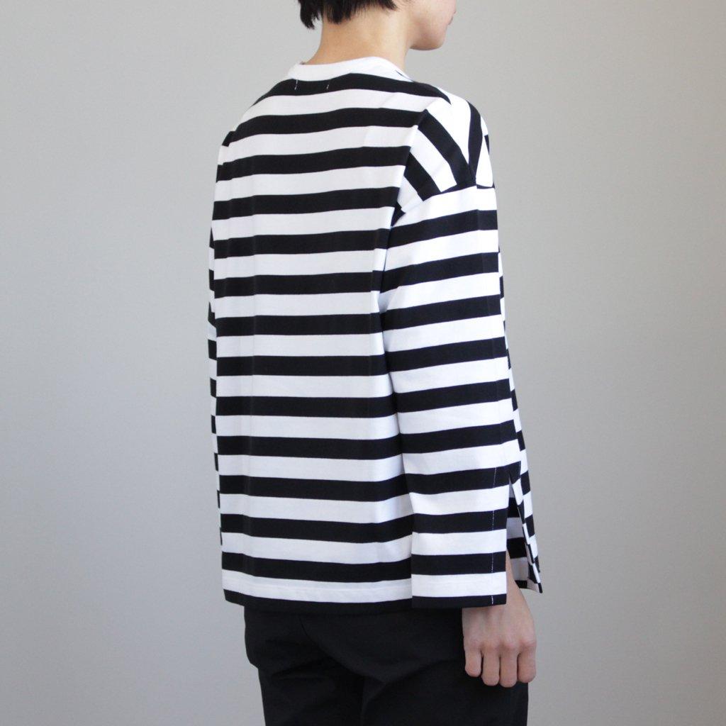 L/S BORDER SLIT TEE #WHITE/BLACK [GL181-70075B]