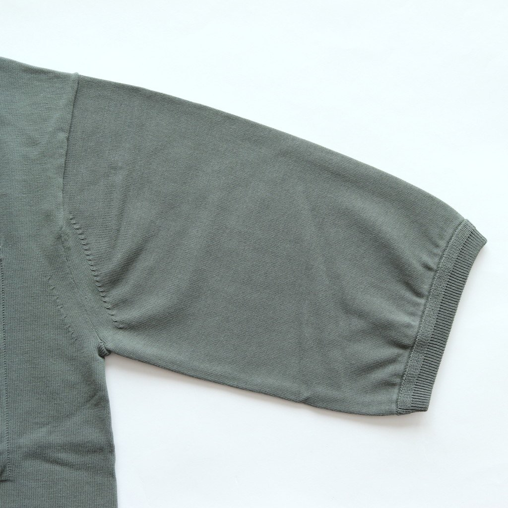 crepuscule | クレプスキュール POCKET KNIT TEE 3/4 #GREEN [1801-006]