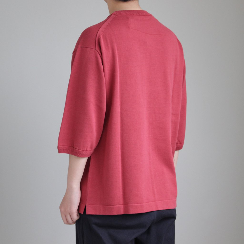 POCKET KNIT TEE 3/4 #RED [1801-006]