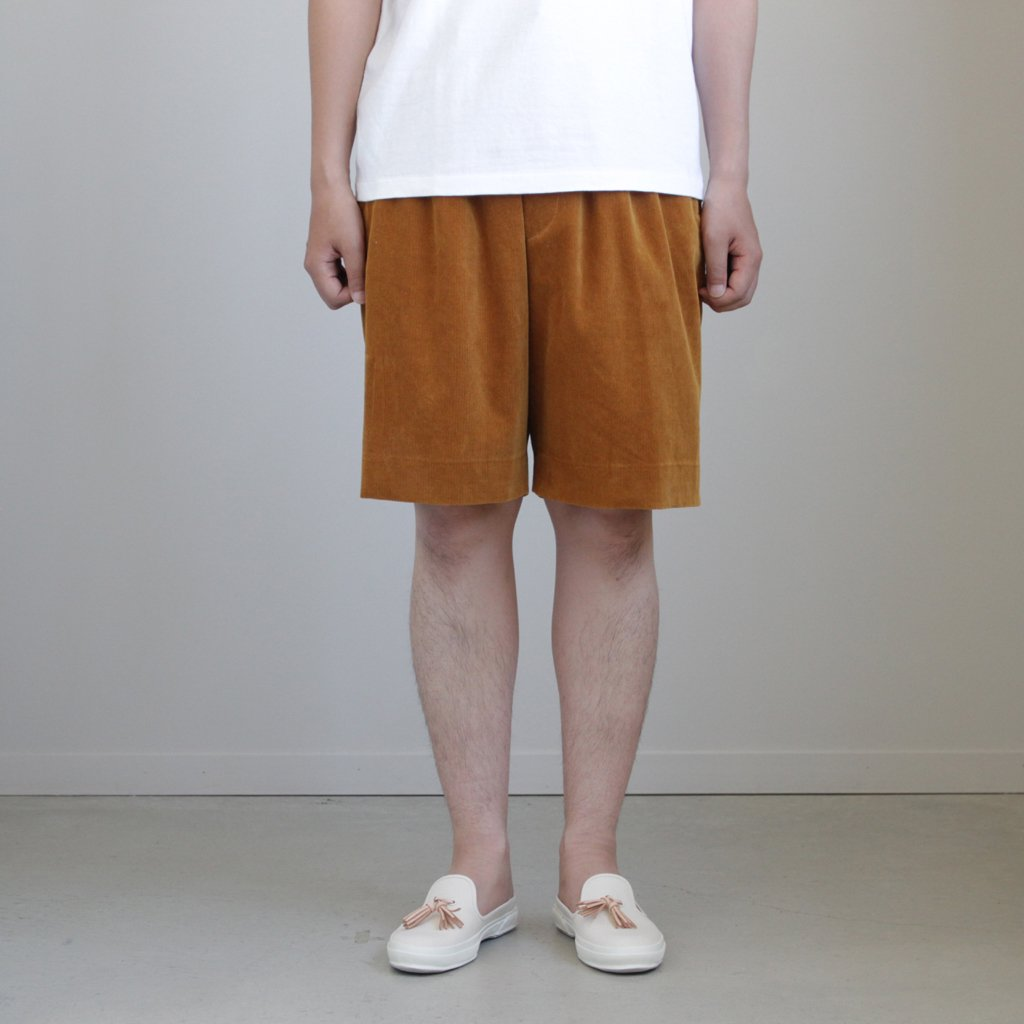 WASHED CORDUROY WIDE SHORTS #CAMEL BROWN [A8SP03NC]