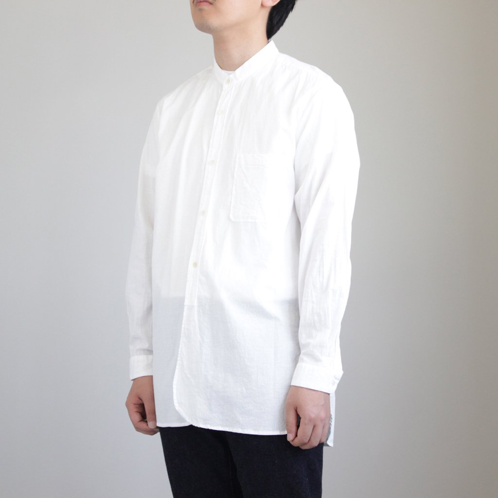BUTTON SHIRTS STAND COLLAR P/O LONG #WHITE [48105]