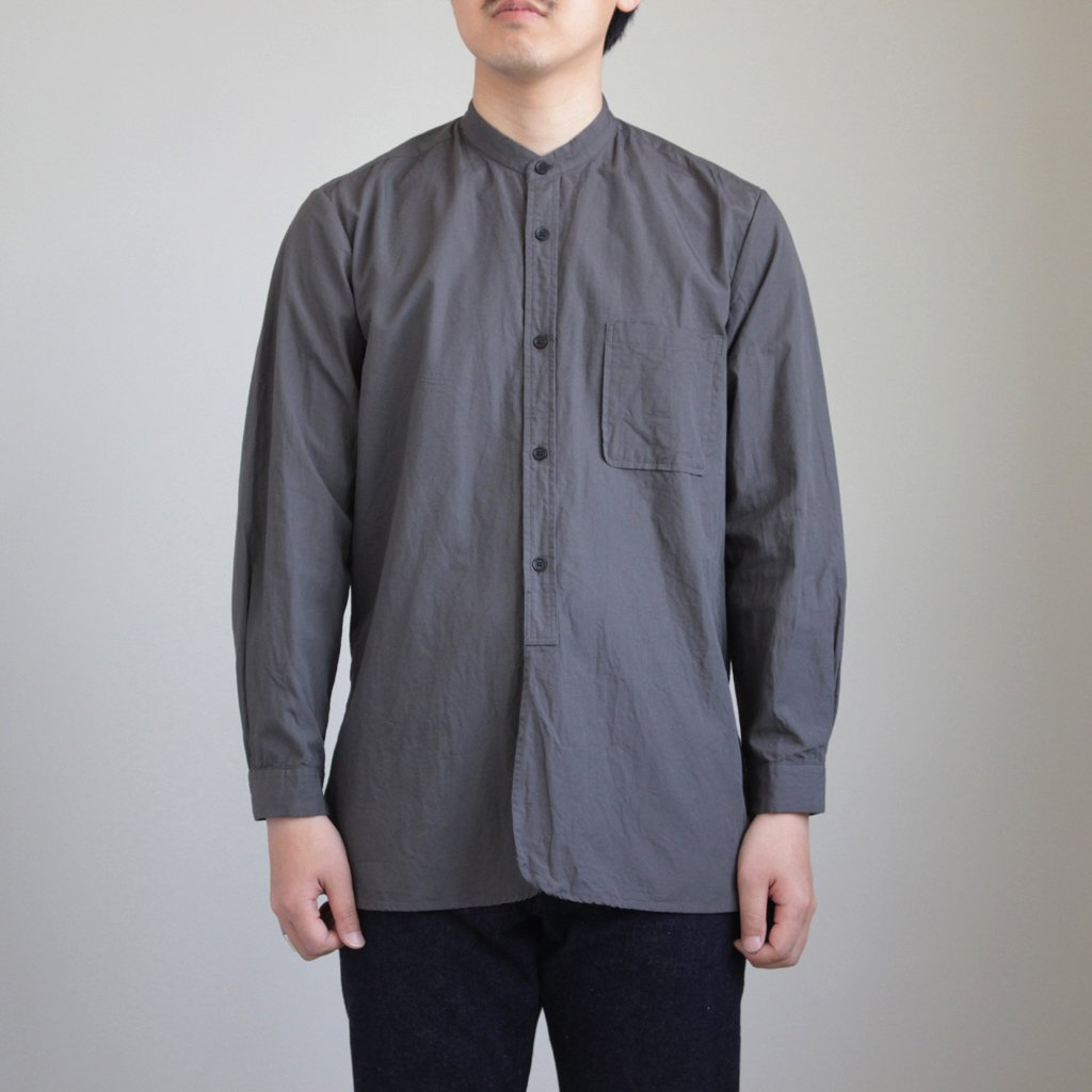 BUTTON SHIRTS STAND COLLAR P/O LONG #BLACK [48105]
