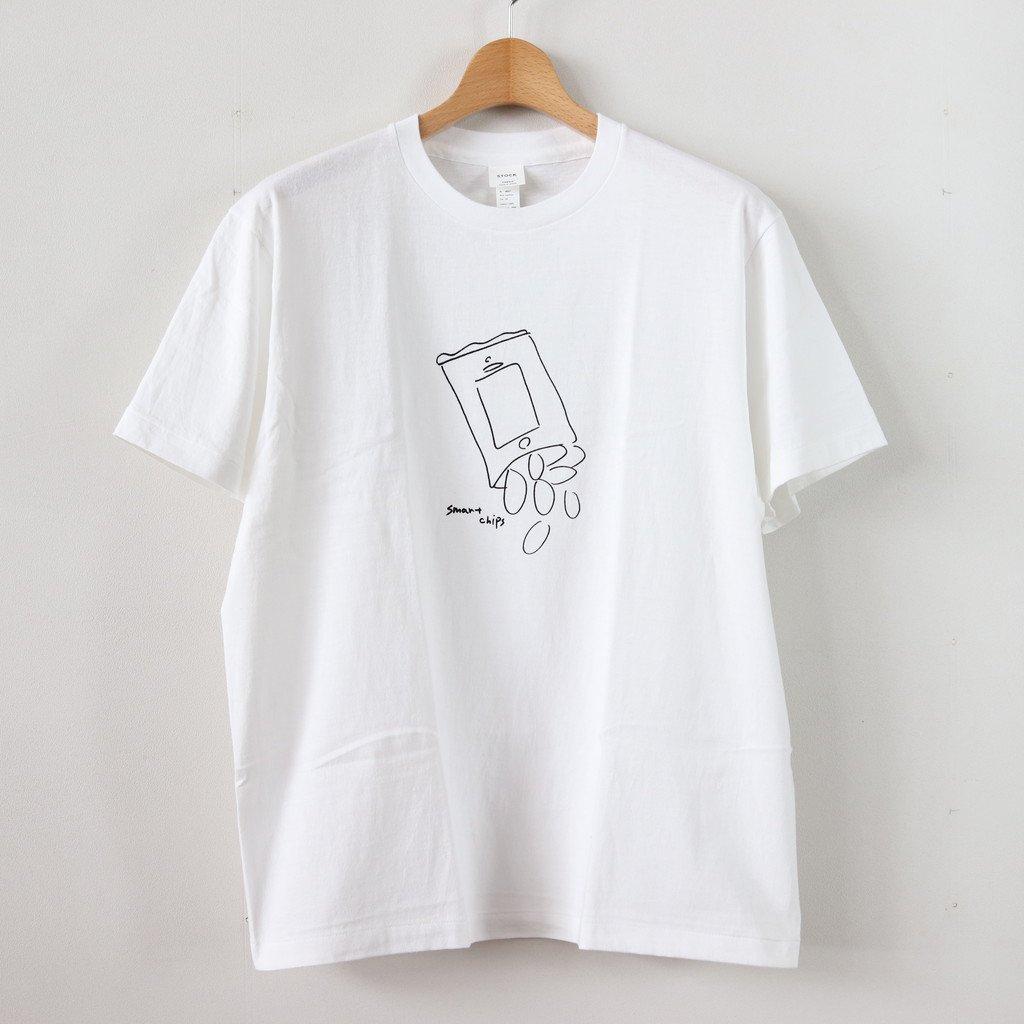 YAECA   ヤエカ 丸胴 CREW NECK TEE KEN KAGAMI - SMART CHIPS #WHITE [38007]