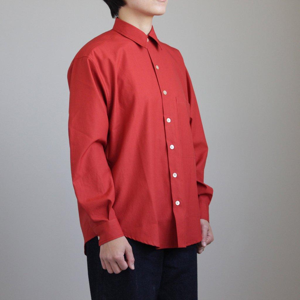 WASHED FINX TWILL BIG SHIRTS #RED [A8SS06TN]