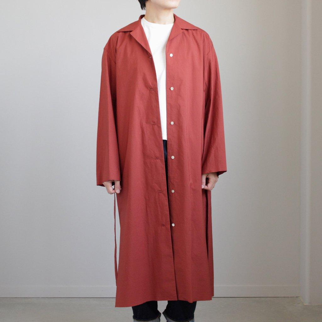 SELVEDGE WEATHER CLOTH LONGSHIRT DRESS #BRICK RED [A8SO04WC]