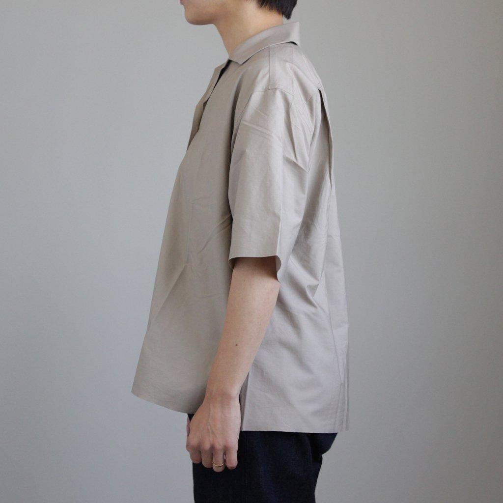 AURALEE   オーラリー SELVEDGE WEATHER CLOTH HALF SLEEVED SHIRTS #GRAY BEIGE [A8SS05WC]
