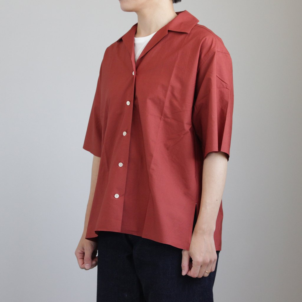 AURALEE | オーラリー SELVEDGE WEATHER CLOTH HALF SLEEVED SHIRTS #BRICK RED [A8SS05WC]