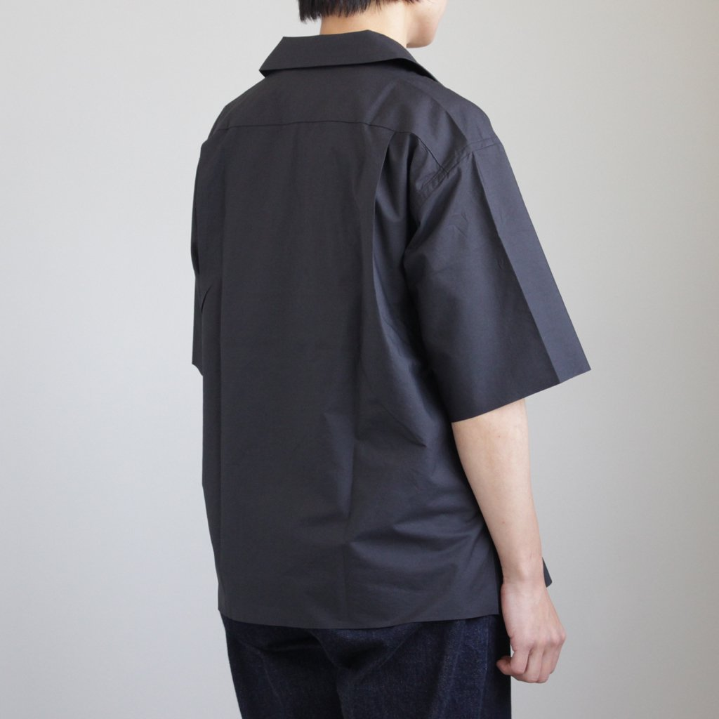 SELVEDGE WEATHER CLOTH HALF SLEEVED SHIRTS #INK BLACK [A8SS05WC]
