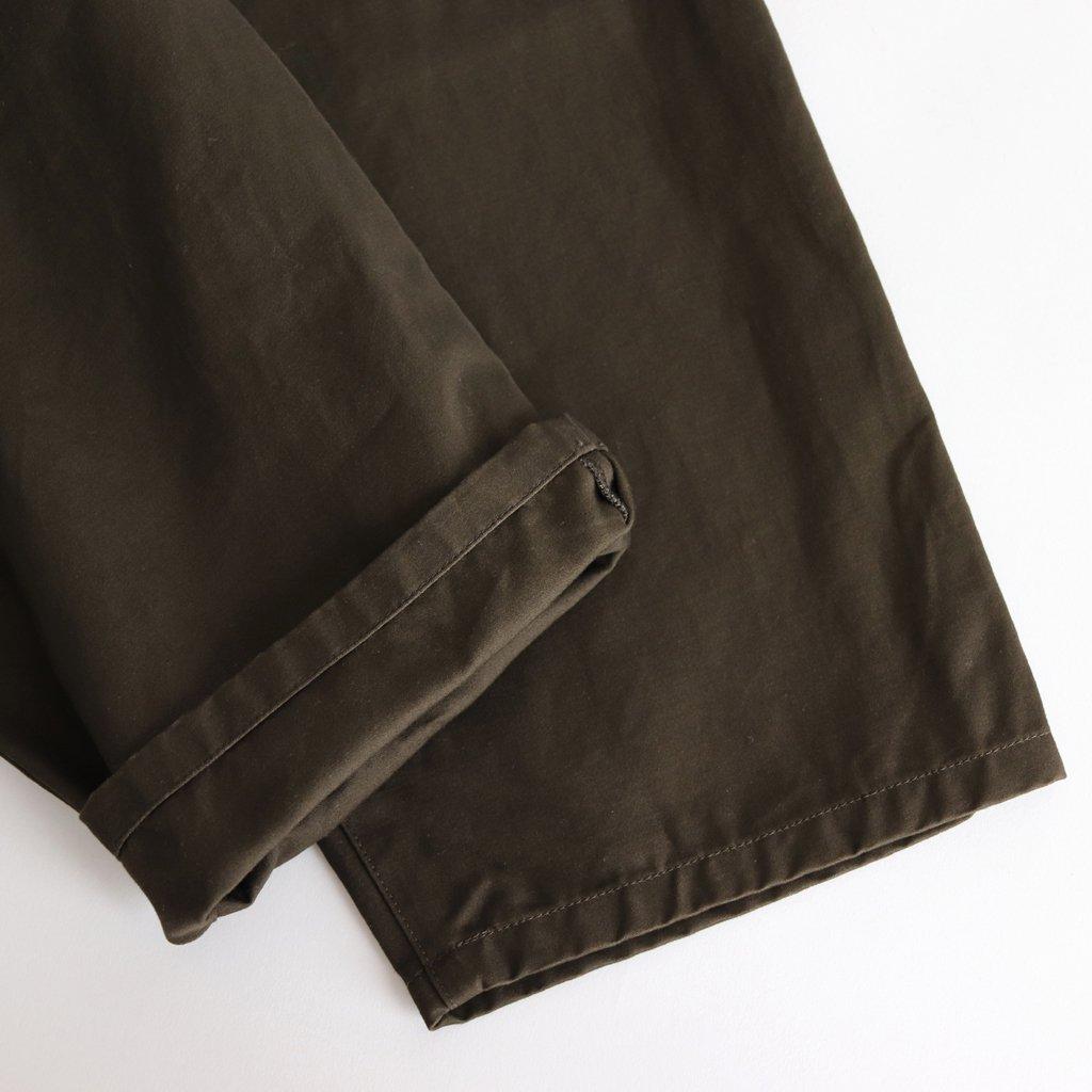 FLWSL|コーマコットン微起毛二重織サテン イージータックワイドパンツ #DARK BROWN [A8-FR122PF]