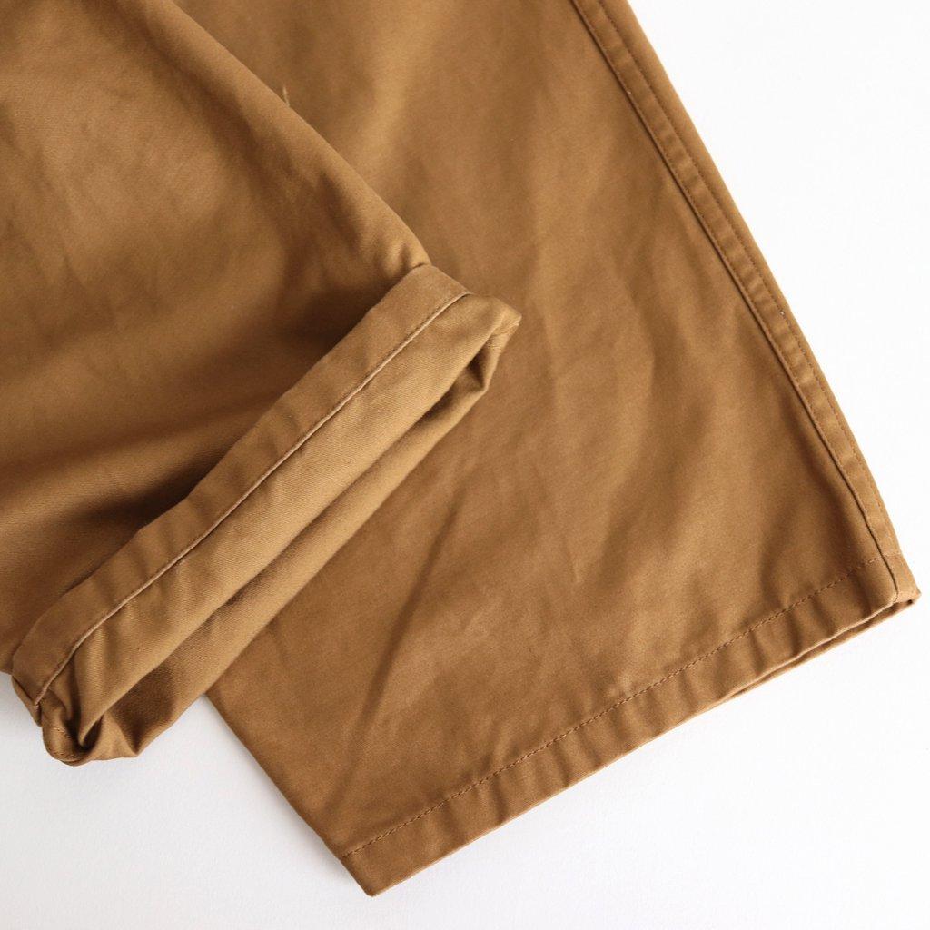 FLWSL|コーマコットン微起毛二重織サテン  イージータックワイドパンツ #WALNUT [A8-FR122PF]