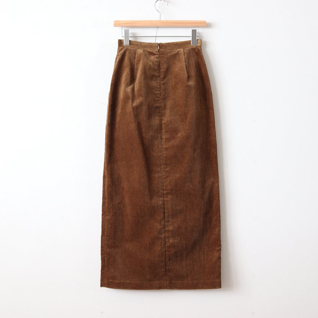 WASHED CORDUROY SLIT LONG SKIRT #BROWN [A8AS05FN]