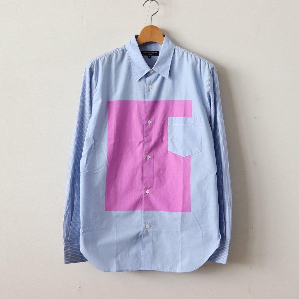 綿ストライプ製品プリントシャツ #SAX/PINK [HB-B006-051]