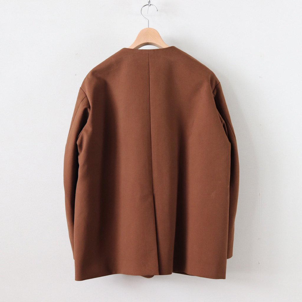 COTTON DOUBLE CLOTH COLLAR LESS JACKET #BROWN [GL183-20040]