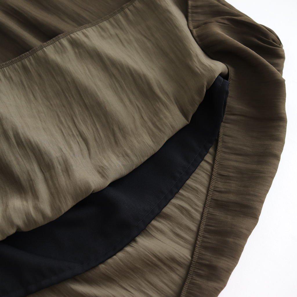 NGZSK|割繊ポリエステルツイルリンクル ギャザースカート #OLIVE [A8-NC072SK]