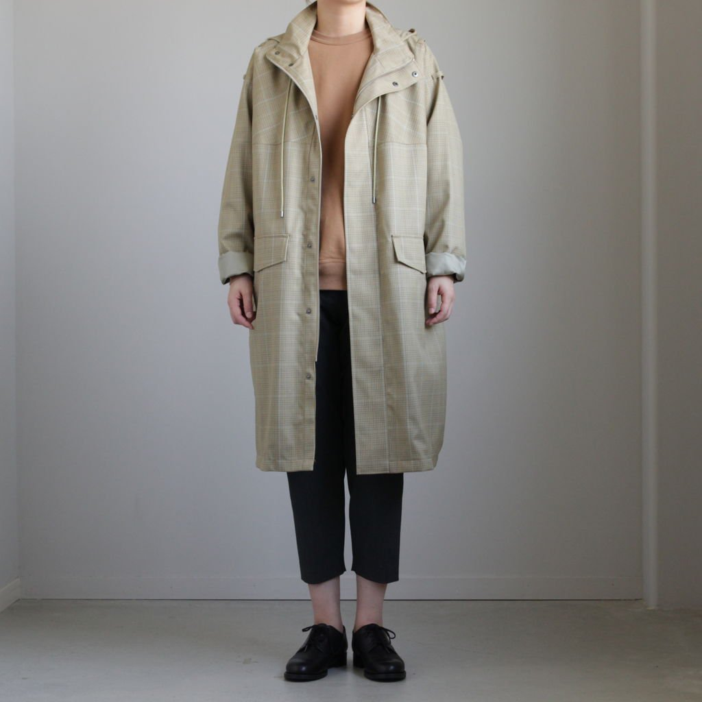 LIGHT WOOL MOHAIR HOODED COAT #YELLOW GUNCLUB CHECK [A8AC04LW]