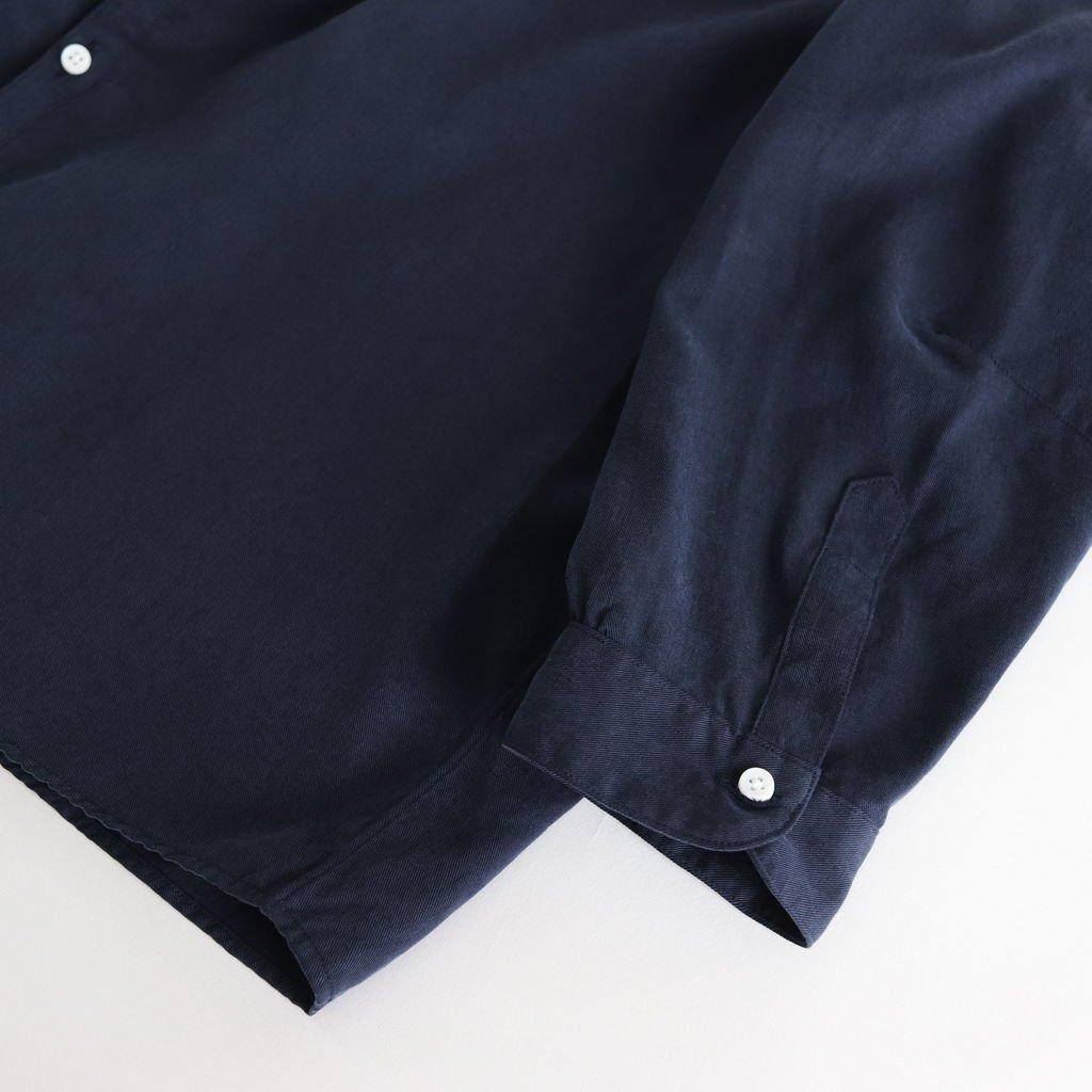 NNCSH|フィブリルテンセルツイル ノーカラーセミワイドシャツ #NAVY [A8-NC103SF]