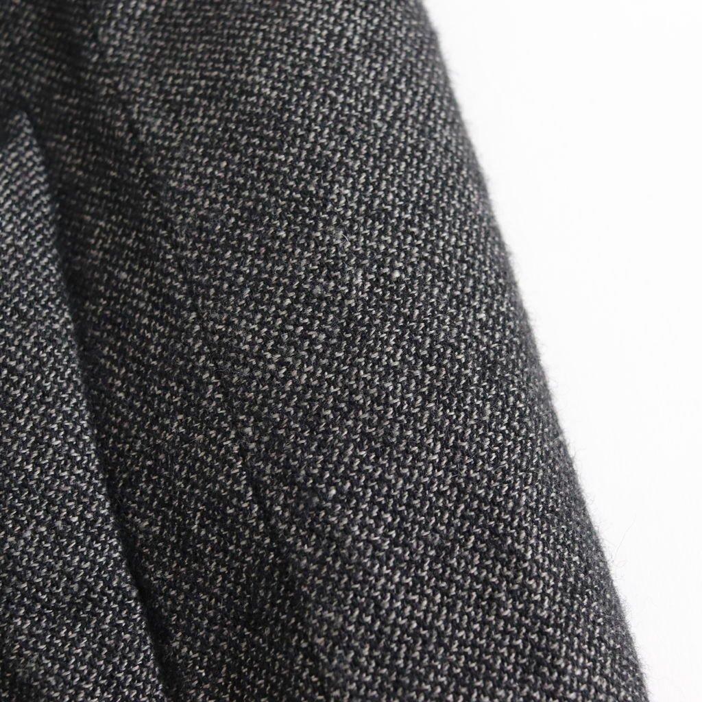 FBGJK シェットランドウール&リネン交織ブロークンツイル ノーカラーテーラードコート #GRAY BLACK [A8-FR222JK]