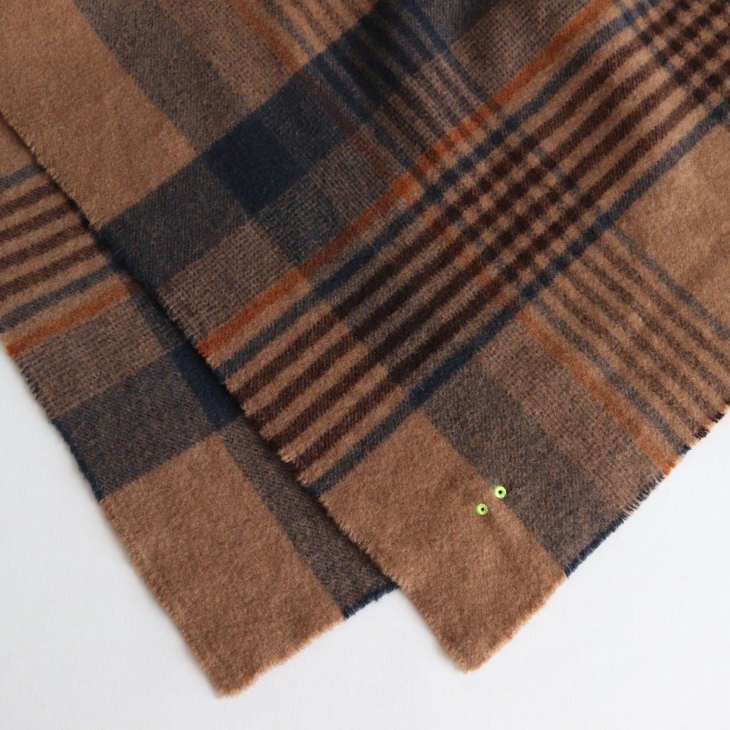 BABY CAMEL FLEECE STOLE #MULTI COLOR CHECK [PR18AW-ST003]