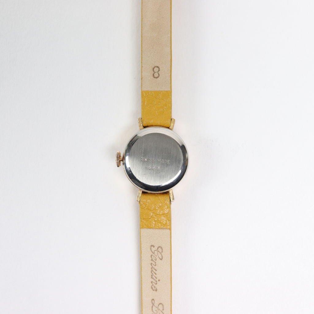 SWISS DEAD WATCH #MUSTARD LEATHER BAND / PEARL WHITE DIAL & PINK GOLD CASE [19A-swissdead-04]