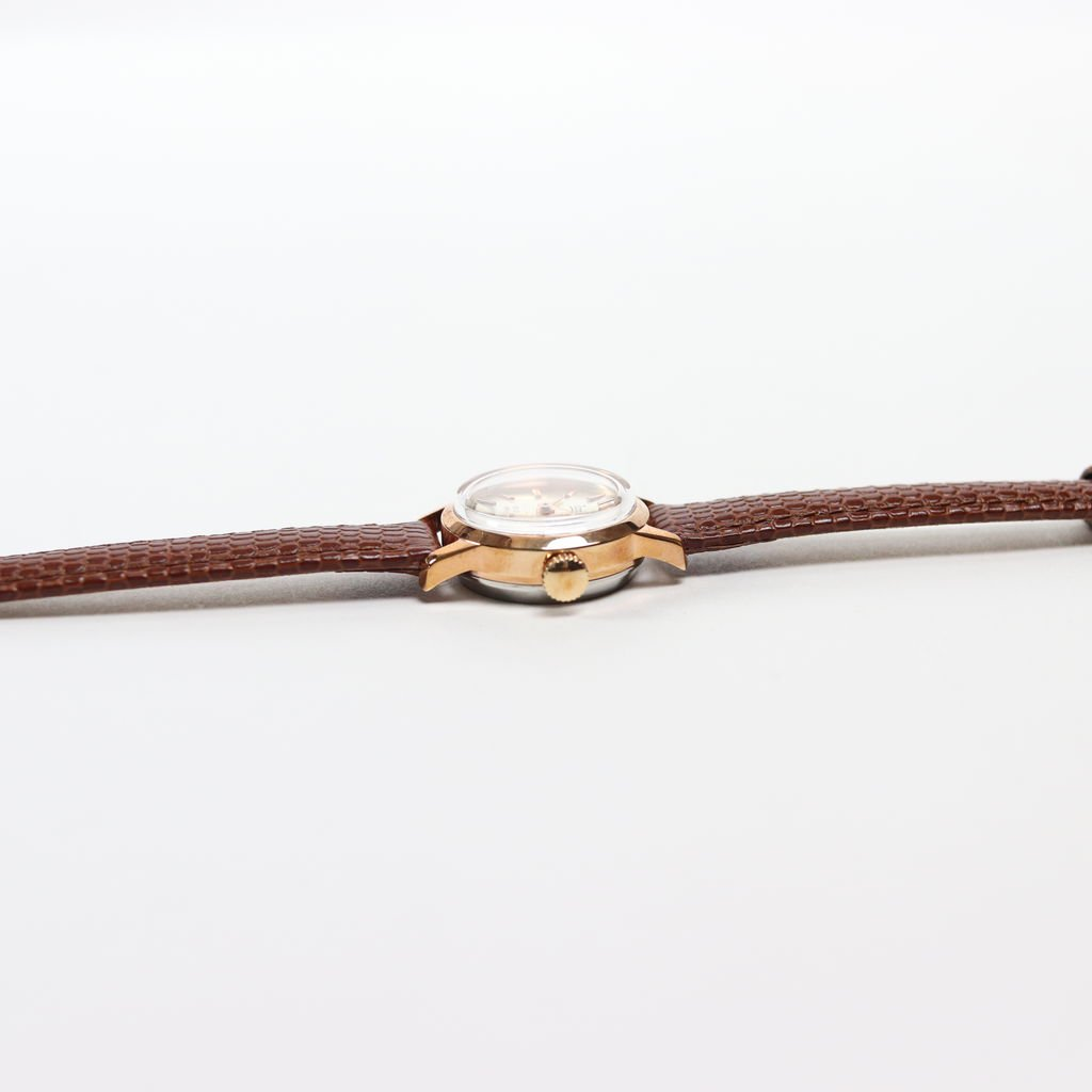 SWISS DEAD WATCH #BROWN LEATHER BAND / PEARL WHITE DIAL & PINK GOLD CASE [19A-swissdead-05]