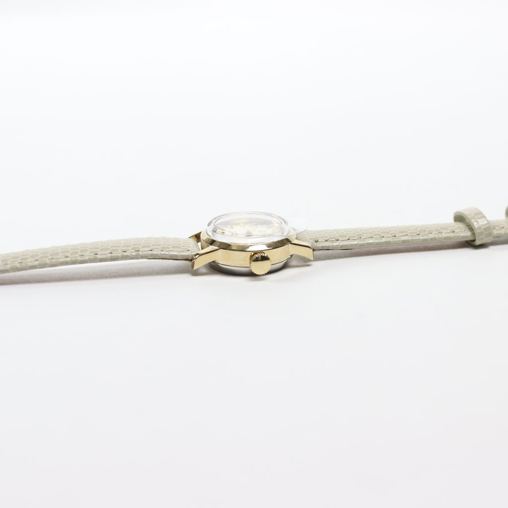 SWISS DEAD WATCH #WHITE LEATHER BAND / PEARL WHITE DIAL & GOLD CASE [19A-swissdead-06]